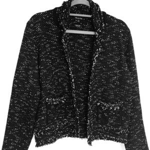 Massimo Dutti tweed Jacket Blazer Black